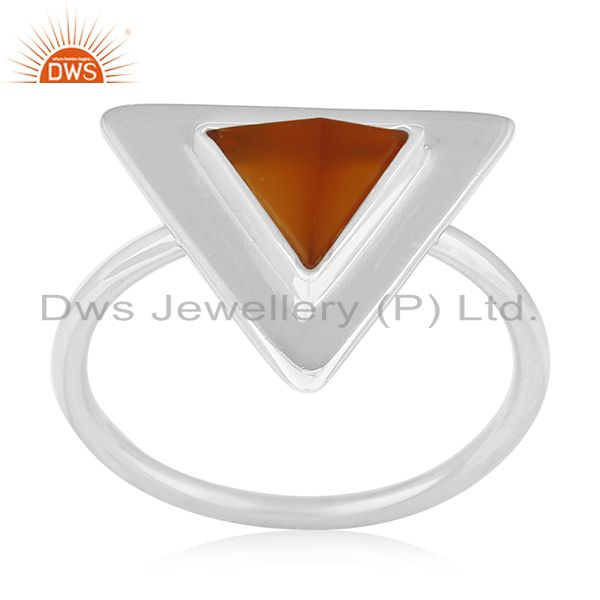 Carnilian Chalcedony Gemstone 925 Silver Triangle Ring Wholesale