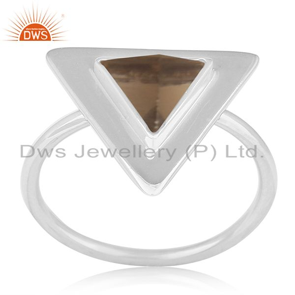 Triangle Shape 925 Silver Smoky Quartz Ring Custom Ring Suppliers