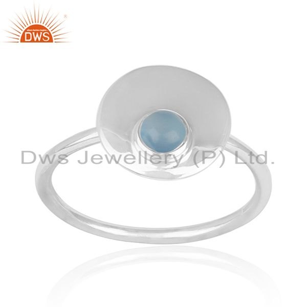 92.5 Silver White Rhodium Plated Blue Chalcedony Gemstone Simple Ring