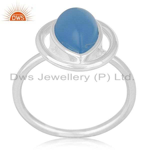 White Rhodium Plated 925 Silver Blue Gemstone Ring Wholesale India
