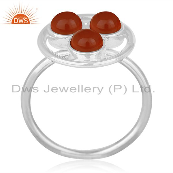 Carnelian Chalcedony Gemstone Handmade Sterling 92.5 Silver Ring Wholesale