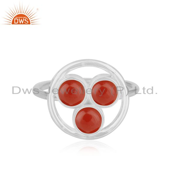 Red Onyx Gemstone 925 Sterling Silver Cocktail Ring Manufacturer of Jewellery