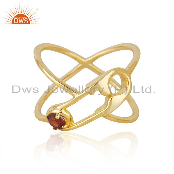 Customized Pin Design 925 Silver Gold Plated Garnet Gemstone Ring