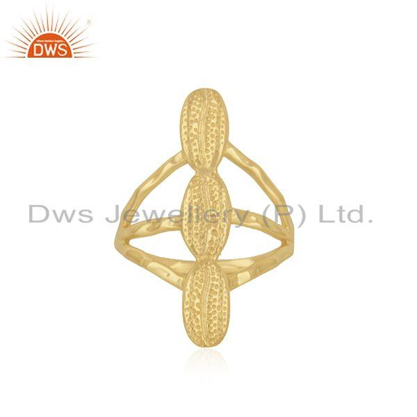 Yellow Gold Plated 925 Sterling Silver Handcrafted Ring Manufacturer India