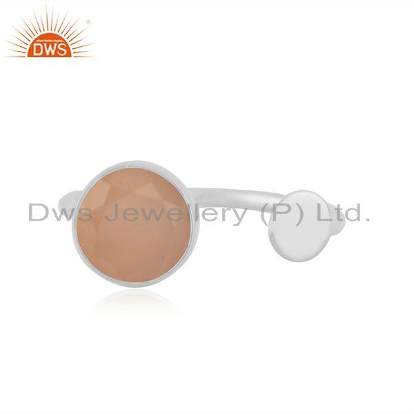 92.5 Sterling Silver Rose Chalcedony Gemstone Girls Promise Ring Wholesale