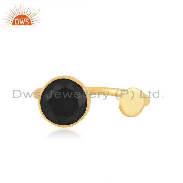 Black Onyx Gemstone Sterling Silver Gold Plated Girls Promise Ring Manufacturer