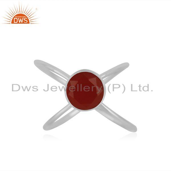 Red Onyx Gemstone 925 Sterling Fine Silver Ring Manufacturer of Girls Jewelry