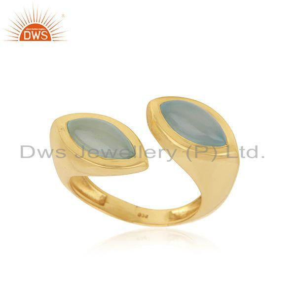 Aqua Chalcedony Gemstone Gold Plated Sterling Silver Ring Wholesaler