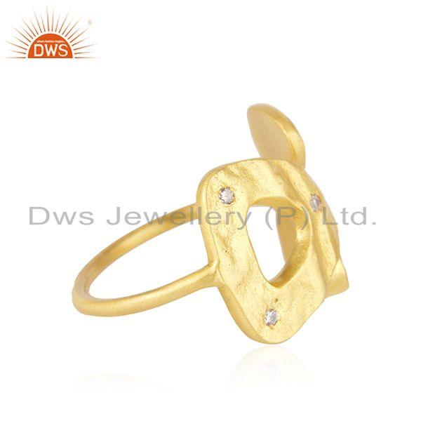 White Zircon Yellow Gold Plated 925 Silver Designer Ring Manufacturer