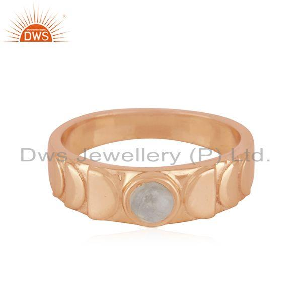 Rose Gold Plated Sterling 925 Silver Moonstone Rainbow Band Rings