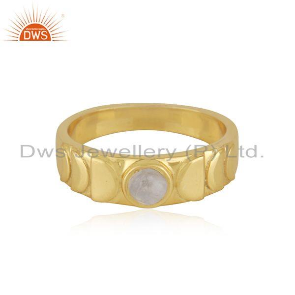 Rainbow Moonstone Yellow Gold Plated 925 Silver Band Ring Manufacturer