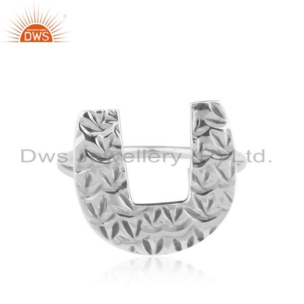 Texture Oxidized 925 Sterling Silver Initial U Shape Girls Ring Jewelry