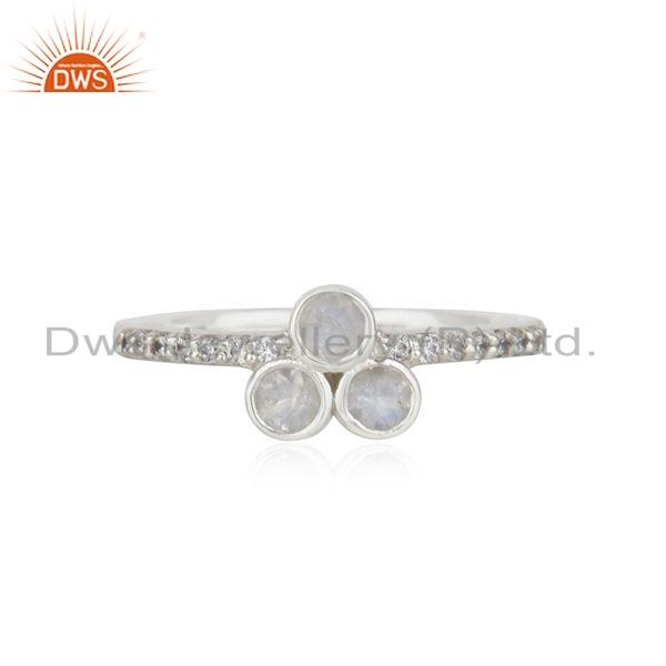 925 Sterling Silver CZ Rainbow Moonstone Girls Stackable Ring Jewelry