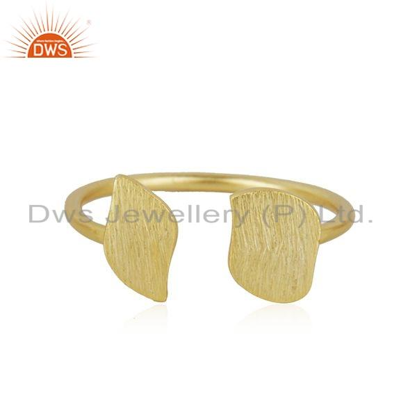 Texture Gold Plated 925 Sterling Silver Designer Leaf Ring Jewelry