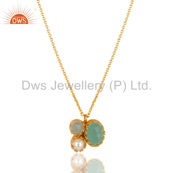 14K Yellow Gold Plated Handmade Dyed Chalcedony & Pearl Brass Chain Pendant