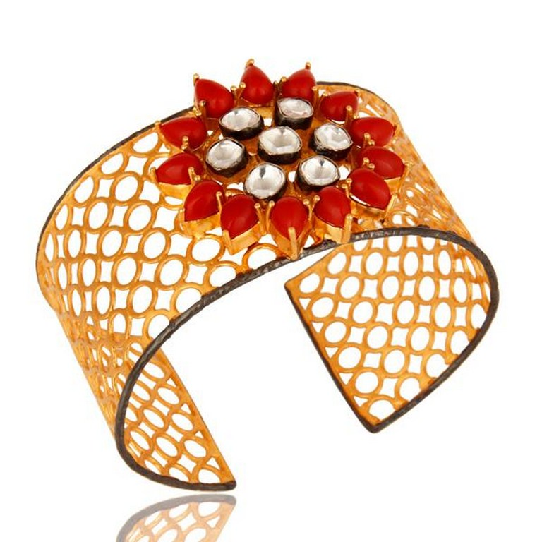 Red Coral And Crystal CZ Polki Wide Cuff Bracelet With Yellow Gold Plated