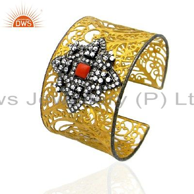 18K Gold Plated Sterling Silver Red Coral And CZ Designer Wide Cuff Bracelet