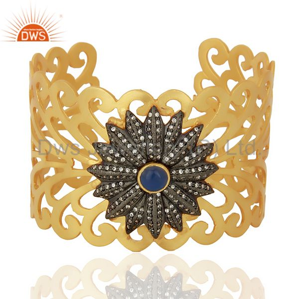 18K Yellow Gold Plated Brass Filigree Designer Wide Cuff Bracelet With CZ