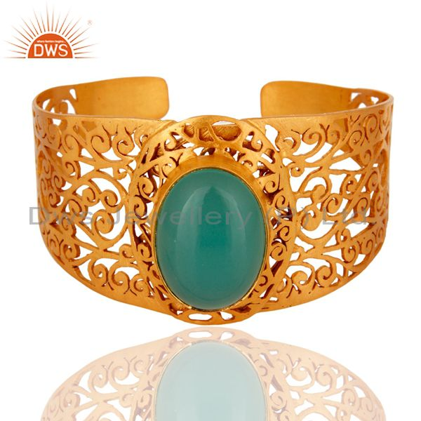 Handmade Dyed Aqua Chalcedony 22K Yellow Gold Plated Filigree Cuff Bangle