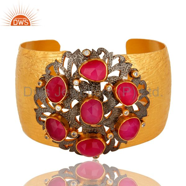 24K Yellow Gold Plated Pink Chalcedony And White CZ Wide Cuff Bracelet / Bangle