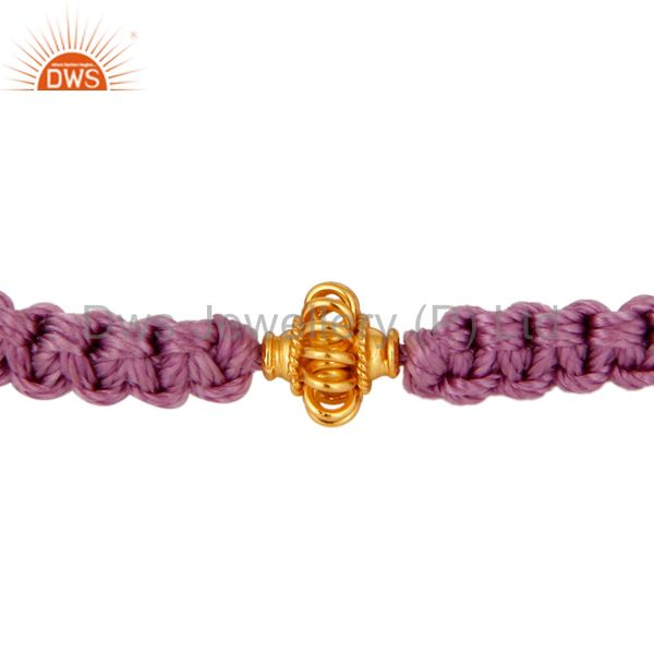 18K Solid Yellow Gold Spheres Macrame Fashion Bracelet Jewelry