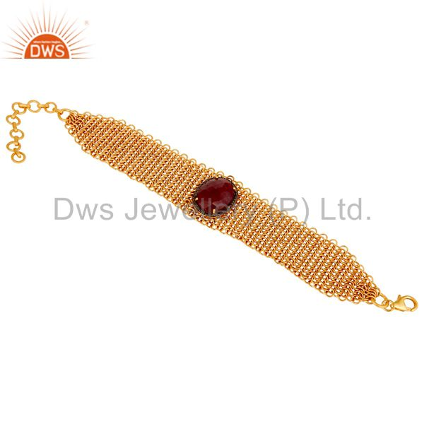 18k Gold Plated Diamond Cut Blue Sapphire With Sterling Silver Bracelet
