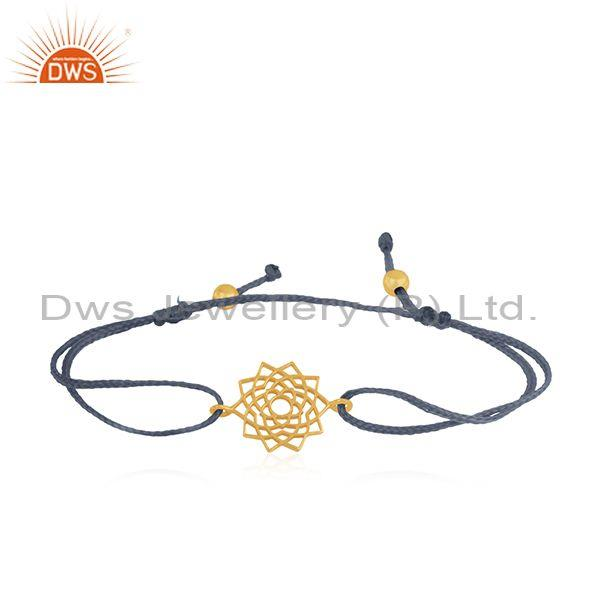 Yellow Gold Plated Sterling Plain Silver Macrame Bracelet Wholesale