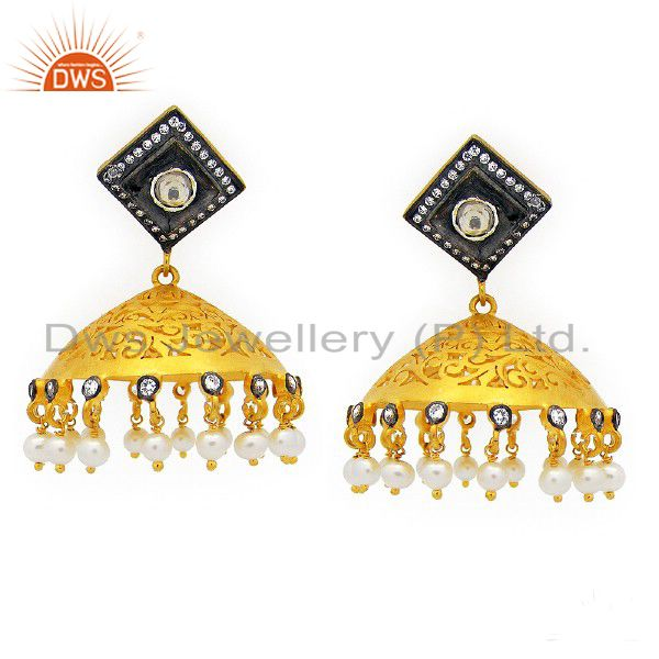 22K Yellow Gold Plated Sterling Silver CZ And Pearl Designer Jhumka Earrings