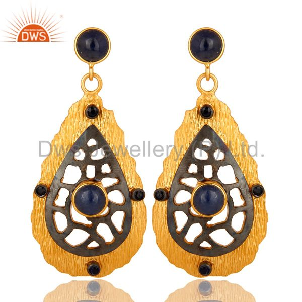 Oxidized And 22K Yellow Gold Plated Sterling Silver Blue Sapphire Dangle Earring