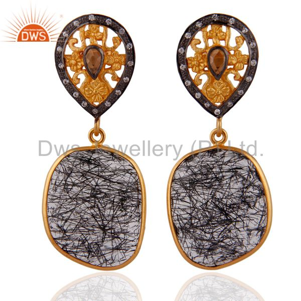 18 K Gold Plated Sterling Silver Tourmalinated Quartz & White Zircon Earrings