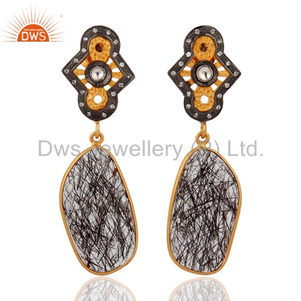 925 Sterling Silver Silver Natural Tourmalated Quartz Earrings With Gold Plated