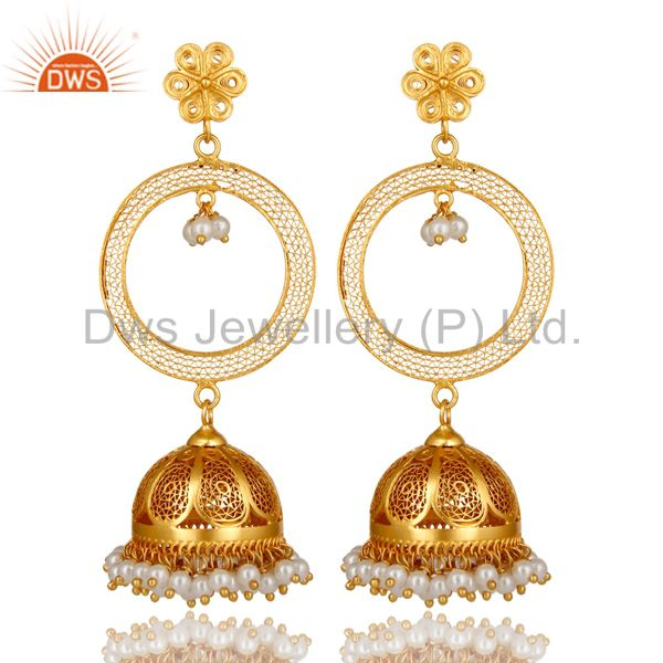 18K Yellow Gold Plated Sterling Silver Natural Pearl Designer Jhumka Earrings
