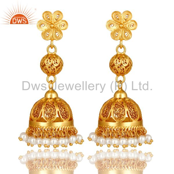 18K Yellow Gold Plated Sterling Silver White Pearl Designer Long Jhumka Earrings