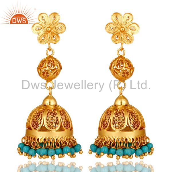 22K Yellow Gold Plated Sterling Silver Turquoise Indian Designer Jhumka Earrings