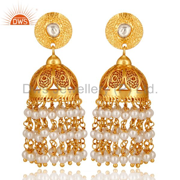 18K Gold Plated Sterling Silver Pearl Designer South Indian Jhumka Earrings