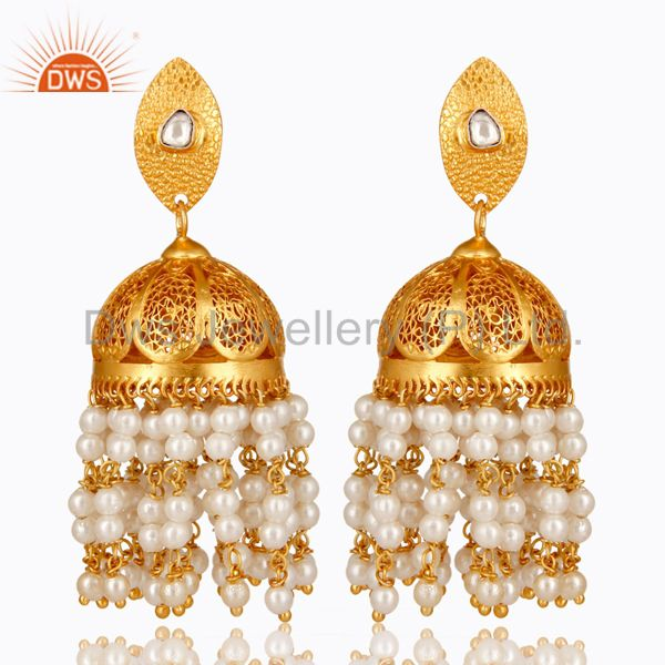 22K Gold Plated Sterling Silver Pearl And Crystal Polki Designer Jhumka Earrings