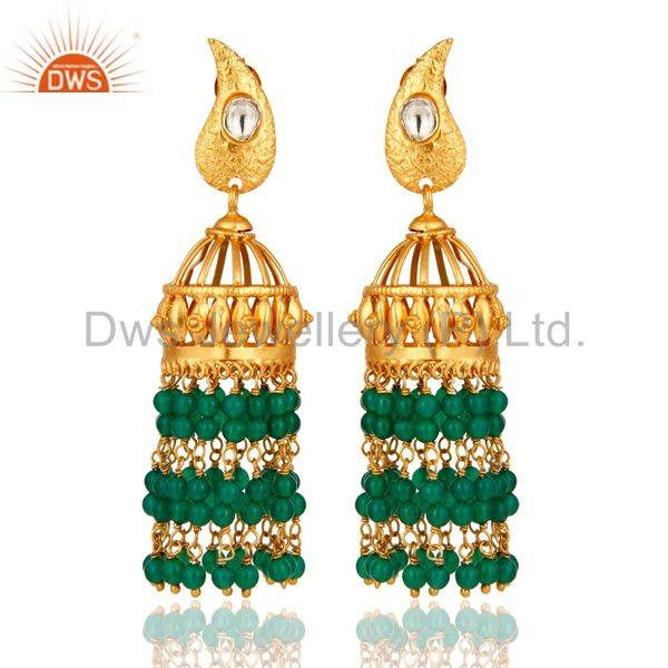 Natural Green Onyx Sterling Silver With Gold Plated Indian Bridal Jhumka Earring