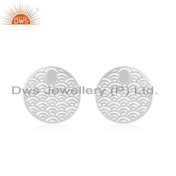 White Rhodium Plated Sterling Silver Unique Girls Stud Earring Jewelry