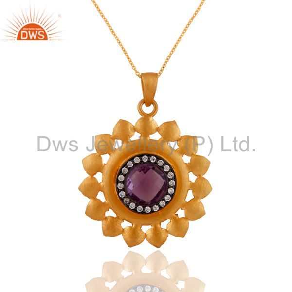24k Yellow Gold On Sterling Silver Amethyst Gemstone Pendant Necklace For Women
