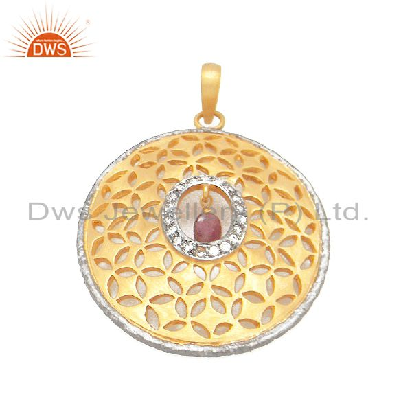 24K Yellow Gold Plated Sterling Silver Pave Diamond And Tourmaline Pendant