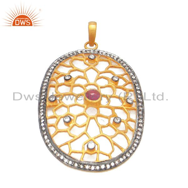 18K Solid Yellow Gold Pave Set Diamond And Tourmaline Designer Pendant