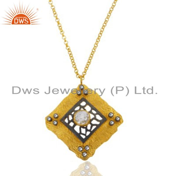 Indian Handmade 18K Yellow Gold Plated Over Sterling SIlver Natural Crystal Qua