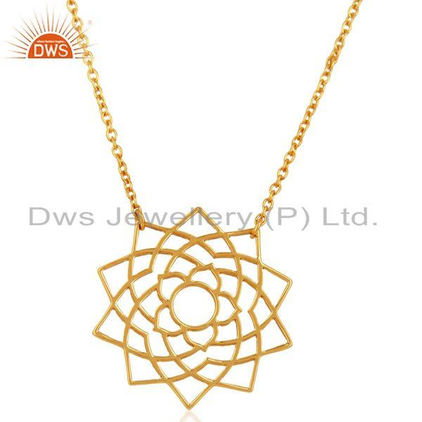 Chakra Spiritiual Sahasra Pendent Sterling Silver Gold Plated Wholesale Jewelry