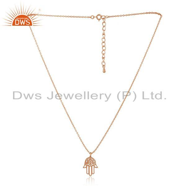 Lucky Hamsa Charm Rose Gold Plated Sterling 925 Silver Chain Pendant