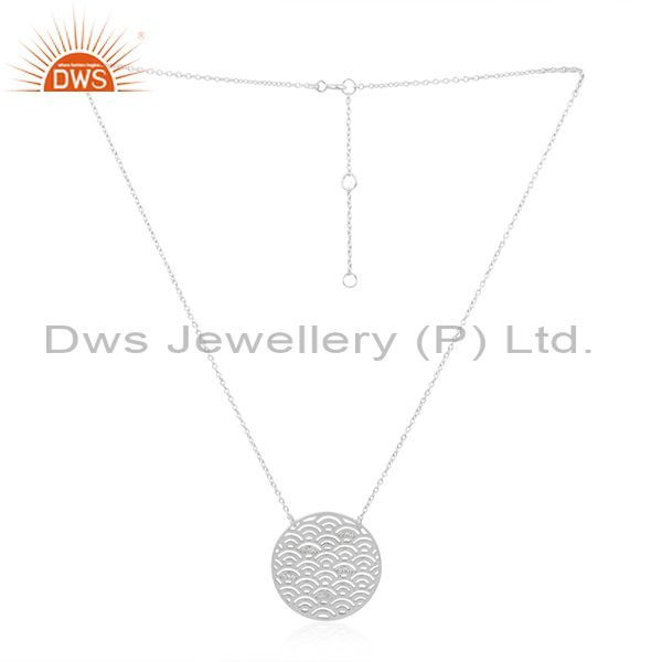 White Rhodium Plated 925 Silver White Zircon Pendant Manufacturer