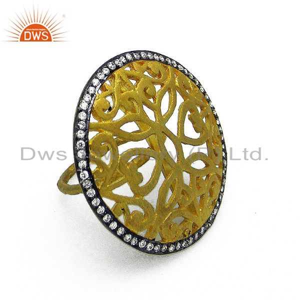 22K Yellow Gold Plated Sterling Silver CZ Designer Cocktail Fashion Ring