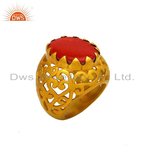 22K Yellow Gold Plated Sterling Silver Red Coral Filigree Designer Dome Ring