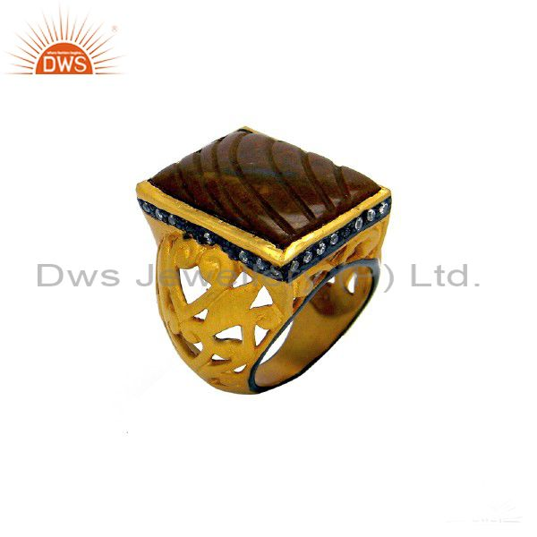 22K Yellow Gold Plated Sterling Silver Red Jasper And CZ Designer Dome Ring
