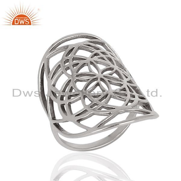 Flower Of Life Sterling Silver White Rhodium Plated Wholesale Ring