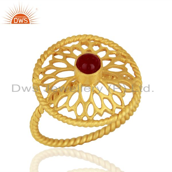 Red Aventurine Gemstone Gold Plated Silver Rings Jewelry Manufacturer